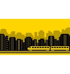 Passenger train on city background vector