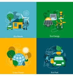 Eco energy flat icons composition vector
