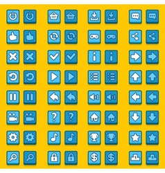 Blue game icons buttons icons interface vector