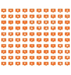 Arrow orange message icons set vector