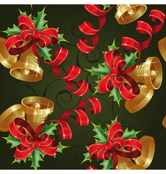 Seamless with bells on a green background clipping vector