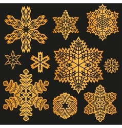 Gold snowflake winter set vector