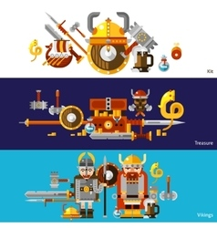 Viking banners set vector
