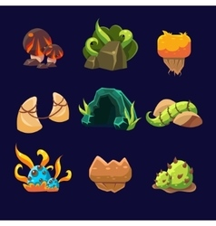 Forest elements for game set vector