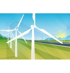Wind turbine farm in green fields during sunrise vector