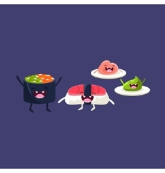 Sushi tuna and rice cartoon friends vector