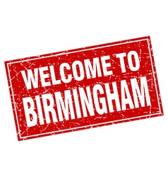 Birmingham red square grunge welcome to stamp vector