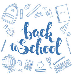 back to school blue linear vector image vector image