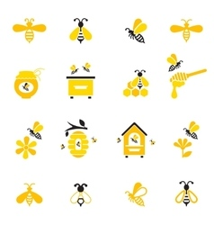 Bee and honey icon set vector