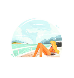 Blond girl relaxing on yacht vector