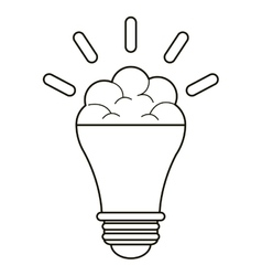 Brain bulb idea innovation creative outline vector
