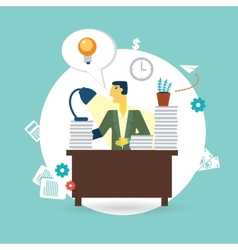 businessman working at his desk vector image vector image