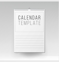 Calendar template realistic calendar blank vector
