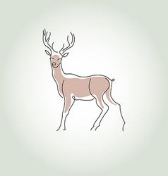 Deer in a minimal line style vector