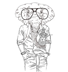 fashion animal elephant dressed up in aloha shirt vector image