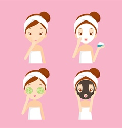 Girl cares and protects her face set vector