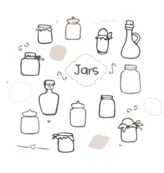 Hand drawn jars and bottles vector