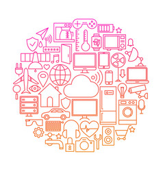 Internet of things line icon circle vector