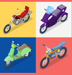 Isometric motorcycle set with mountaine bike vector