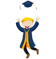 Man in blue graduation gown throwing cap vector