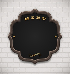 Menu chalkboard with wooden frame on white brick vector image vector image