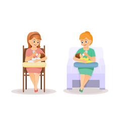 mothers feed babies from bottle vector image vector image