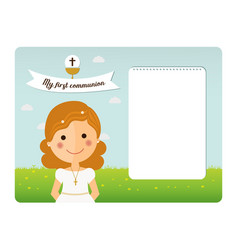my first communion invitation with foreground vector image