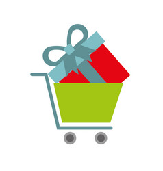 online shopping cart and gift business digital vector image