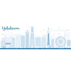 Outline yokohama skyline with blue buildings vector