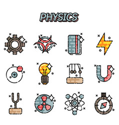 Physics flat icons set vector