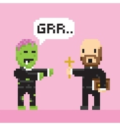 Pixel art game style halloween zombie and priest vector