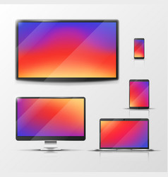 tablet and laptop mobile phone and pc vector image vector image