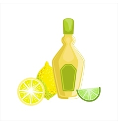 Tequila Bottle Traditional Mexican Cuisine Dish vector image vector image