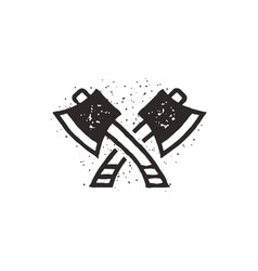 two crossed axes silhouette vector image
