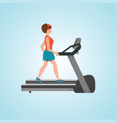 young adult woman running on treadmill vector image
