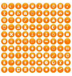 100 astronomy icons set orange vector