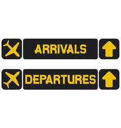 Arrival and departures airport signs vector