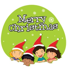 Christmas theme with kids in red hat vector