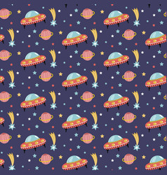 alien spaceship in outer space seamless pattern vector image