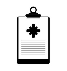 Clipboard medical report clinic pictogram vector