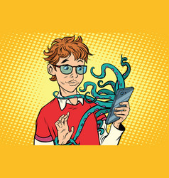 Teen and octopus in the smartphone danger online vector