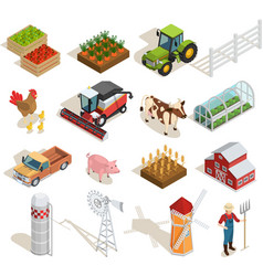 1611i201035pm003c23farm isometric set icon vector
