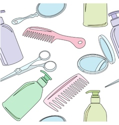 Seamless background with hairdressing accessories vector image