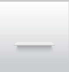 Empty white shelf on a gray wall vector