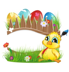 Chicken with brush and easter eggs vector