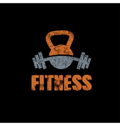 Grunge kettlebell and barbell on black background vector