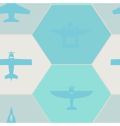 Seamless background with different airplanes vector