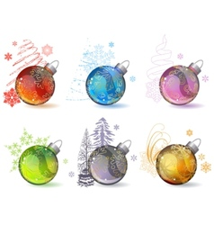 different christmas glass balls vector image