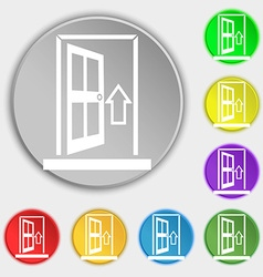 Door enter or exit icon sign symbols on eight flat vector