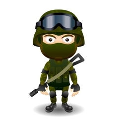 Soldier military character combat black mask male vector image